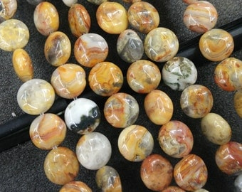 Yellow Crazy Agate Stone 10mm round coin beads- 38pcs/strand