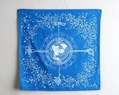 ON SALE Ready to ship: Celestial Navigation Bandana - natural indigo-dyed screen printed