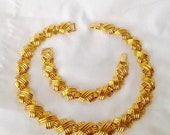50% Napier Gold X Necklace Bracelet Set Modernist Choker