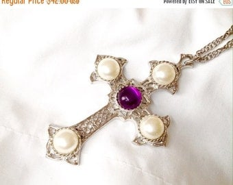 50% Sarah Coventry Necklace Cross and Chain