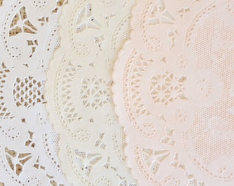 PEACHES & CREAM | 5 INCH Shabby, Rustic Hand Dyed Paper Lace Doilies - You Choose the Doily Style + Quantity - Party Decoration