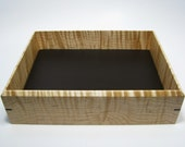 "Large Valet Box in Tiger Maple. Premium Valet Box. Wooden Tray Upholstered in Leather. 9.5"" x 7.5"" x 2.5""."