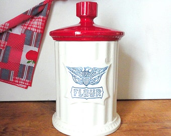 Vintage 1970's Americana Eagle Cookie Jar by Holiday Designs Patriotic Red White Blue