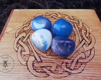 BLUE ONYX  Polished Tumbled Gemstones - Power Stone, Intuition, strength, 5th chakra