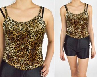 1990's Gold Black VELVET Animal Pattern Cropped Tank Top. Spaghetti Straps. Leopard Print. 90's Grunge Goth