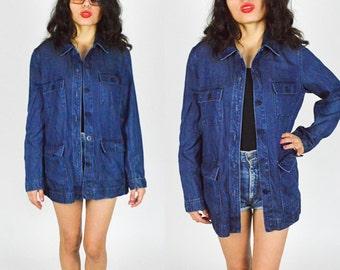 1990's BLUE DENIM JACKET. 90's Grunge Mod.  Minimalist Classic Denim Coat. 90's Mod. Denim Shirt Military Style.