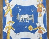 HANDKERCHIEF - COWBOYS and cowgirls - CHILDRENS - country western - blue - white - ranching