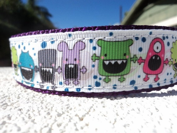 """Sale Dog Collar 1"""" wide Quick Release or Martingale collar Big Mouth Shadow Monsters S- XXL sizes"""