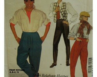 80s Judhpurs or Riding Pants Pattern, Front Pleat Pants, Footed Leggings, Flat Front, Side Leg Panels, Ankle Zippers, McCalls 2077 Size 12