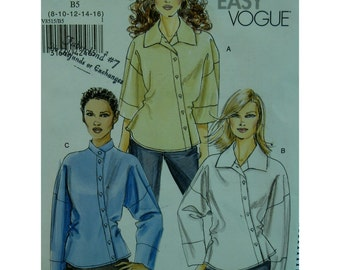 Diagonal Button Blouse Pattern, High Collar, Long or 3/4 Sleeves, Back Self Ties, Vogue No.8515 UNCUT Size 8 10 12 14 16