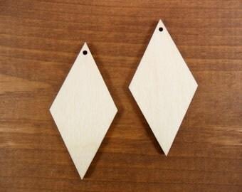 "25 Diamond Shaped Earrings Pendants Wood Cutout 2 1/2"" x 1 1/4"" H Unfinished Laser Cut Necklace Jewelry Making"