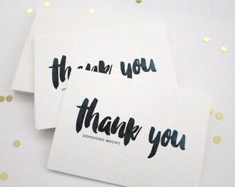 THANK YOU (sooooooo much!) / thank you notecards / Set of 10 - thank you note set / thank you notes / thank you stationery / Size 3.5 x 5.5