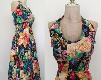 40% OFF 1970's Tropical Flowers Vintage Halter Dress Vintage Dress Sz XSs Small by Maeberry Vintage