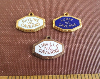3 Caverns Souvenir Charms - Virginia & North Carolina, Blue and White Enamel