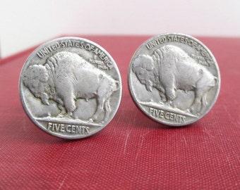 Buffalo Nickel Cuff Links - Reverse, Vintage Repurposed Coins