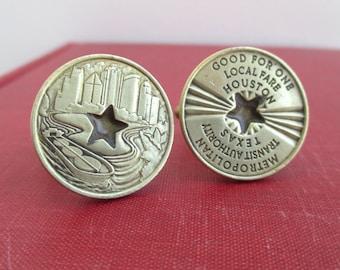 Houston Transit Token Cuff Links - Vintage Repurposed Coins
