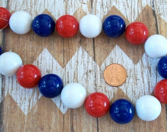 20mm Red, White, and Blue Gumball Beads Strand Fourth of July Jewelry Supplies