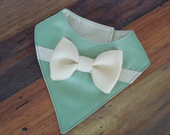 Satin with Grosgrain Ribbon Bow - Bib-Style Bandana Scarf for Dogs or Cats - Color Options - All Sizes