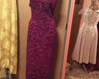 50% OFF SALE Vintage 1980s Jump Sparkle Cranberry Evening Gown/USA/Sz 9/10