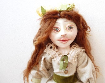 OOAK Art Doll, Sculpted Paperclay Doll, Flora