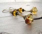 Long Drop Earrings, Bohemian Earrings, Vintage Vibe Jewelry, Boho Bijoux, Dangly Earrings, Neutral Color, Sparkly Glass Beads, Wear Everyday