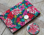 Small notebook & mirror set covered in Liberty Copeland flower print fabric - removable notebook cover