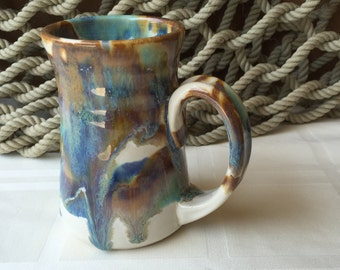 Pottery Mug in Tricolor Glaze 10 ounce