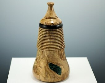 Spalted Maple Wooden Vessel with Lid, V2704