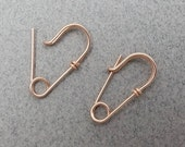 Tiny 14k Rose Gold Filled Safety Pin Earrings, Mini Safety Pin Earrings, Smaller Earrings, Earrings for Him, Earrings for Her