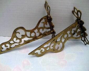 Vintage Brass Shelf Bracket Set