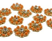 Indian Floral Appliques Sewing Small Patches Decorative Floral Beaded Crafting Indian Dress Decor Orange Beaded Appliques By 1 Dozen APS343J