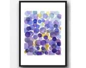 Giclee print watercolor purple Dots Watercolor Painting - Minimal Abstract painting - purple Circles Splash Modern Wall Art