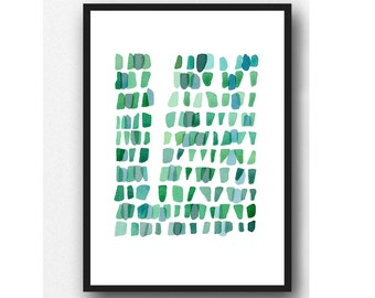 pantone 2017 Green watercolor painting - Sea Glass Wall art - Watercolor print giclee  - Abstract painting