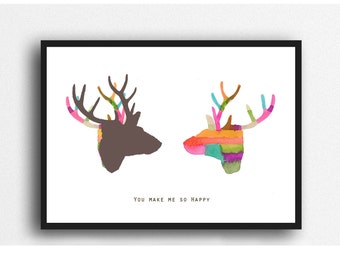 Valentines gift, giclee print Deer colorful wall decor,  gift for him