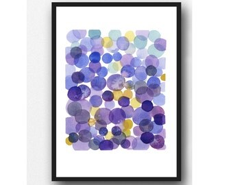 Ultra Violet Pantone 2018, Watercolor Print Purple Dots Watercolor Painting, Minimal Abstract painting, Modern Wall Art