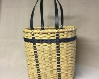 Hand Woven Tote Basket with Black Accent Weaving and Leather Handles