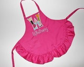Personalized Child's Apron Pink Ruffle With Name and Initial Pick Your Fabric
