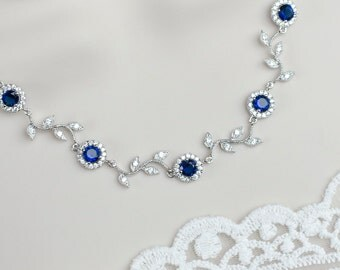 Blue Sapphire Bridal Necklace, Sapphire Bridal Necklace, Something Blue Wedding, Blue Sapphire CZ Round Connectors and Branch Tree Necklace