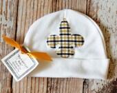 Black and Gold Baby Fleur de Lis Newborn Cap