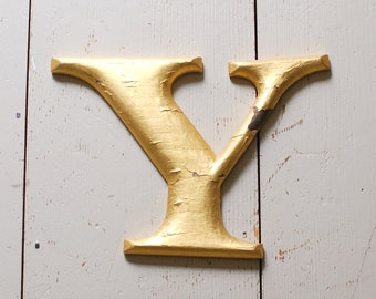 "Antique Gilded Sign Letter - ""Y"""