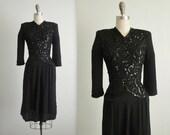 40's Beaded Dress // Vintage 1940's Sequined Rayon Black Femme Fatale Noir Cocktail Party Evening Dress XS