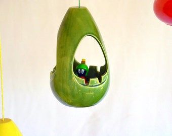 Vintage DEADSTOCK Ceramic Hanging Ashtray / Planter: Groovy Green Mid Century Modern Egg Shaped 'Made in Japan' Pottery, NEW in BOX