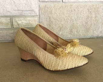 1950s Cork Wedges * Woven Straw Heels * Town & Country * Womens size 7
