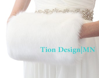 Faux Fur Hand Muff,  White Wedding fur muff, bridal fur hand muff, faux fur wrap 270F-WHI
