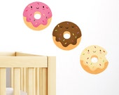 Happy Donuts Wall Sticker Nursery Wall Decal, nursery wall art, Living room wall decal, foodie gift, Removable & Repositionable