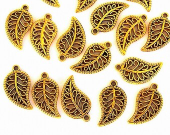 25 gold leaf charms, antiqued gold metal leaves, small gold filigree leaf openwork charms, nature charms, lacy gold leaf, goldtone leaf