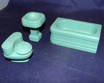 Miniature Solid Wood Furniture Doll house Turquoise Pedestal Sink