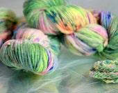Hand dyed yarn, handspun yarn, Misty Neon aran weight soft Bailey 100% Merino