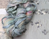 """Recycled Sari Ribbon ,by the yard, """"Flapper"""" hand dyed chiffon ribbon, jewelry making, doll clothing, spinning supplies"""