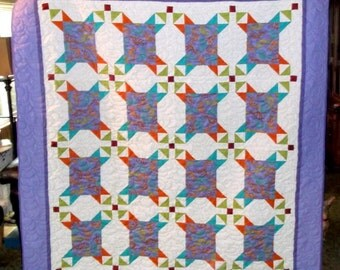 "SW KOKOPELLI QUILT lap/twin/bunk New Appz 66"" X 72"" Gorgeous soft purple, aqua, and lime on white"